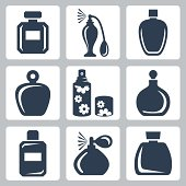 Vector isolated perfume bottles icons set