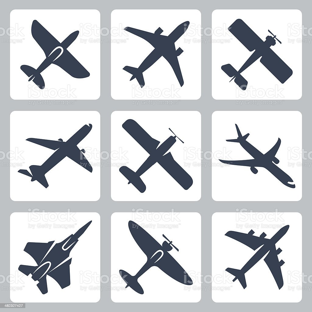 Vector isolated plane icons set vector art illustration