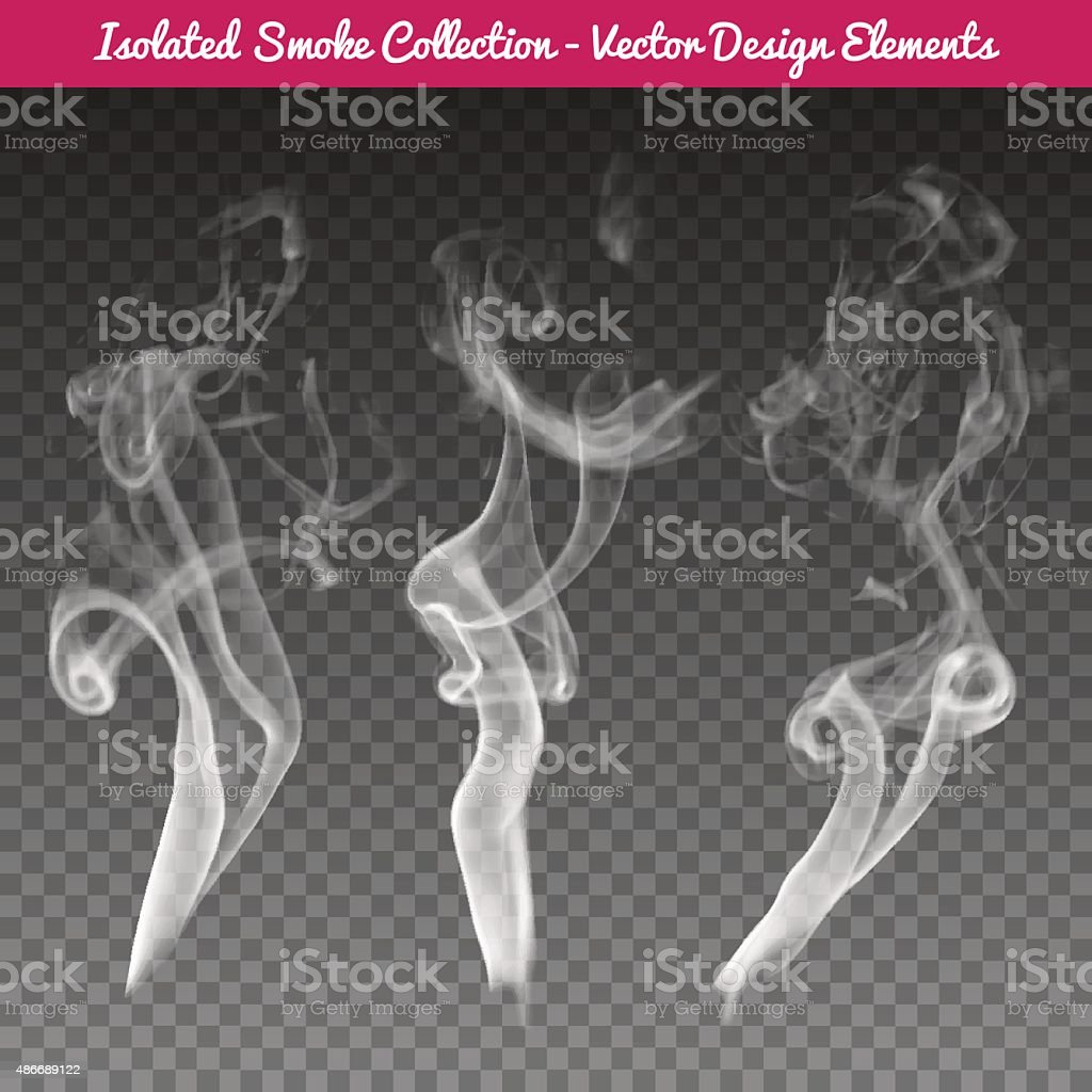 Vector isolated realistic cigarette smoke waves. vector art illustration