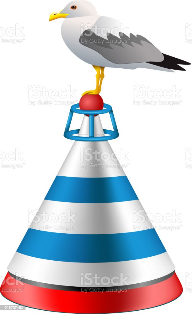 Vector isolated realistic sea buoy with a seagull vector art illustration