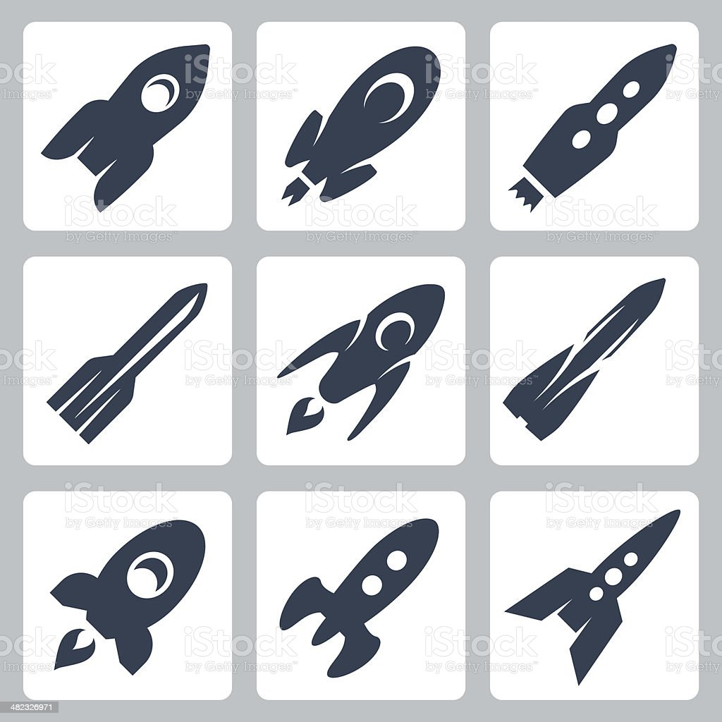 Vector isolated rockets icons set vector art illustration
