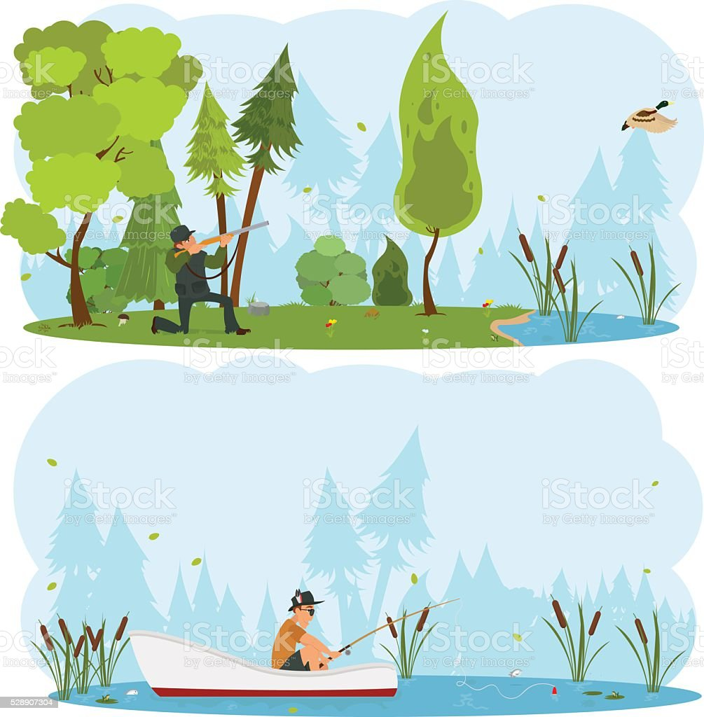 Vector isolated scenes of nature. vector art illustration