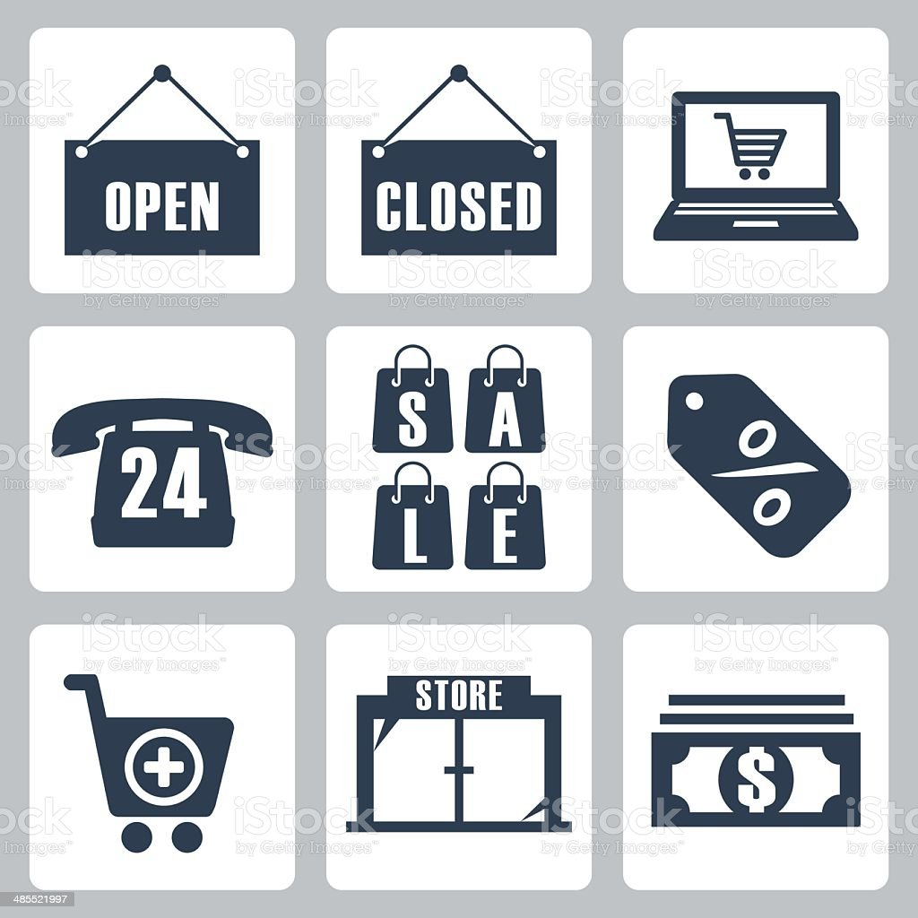 Vector isolated shopping icons set vector art illustration