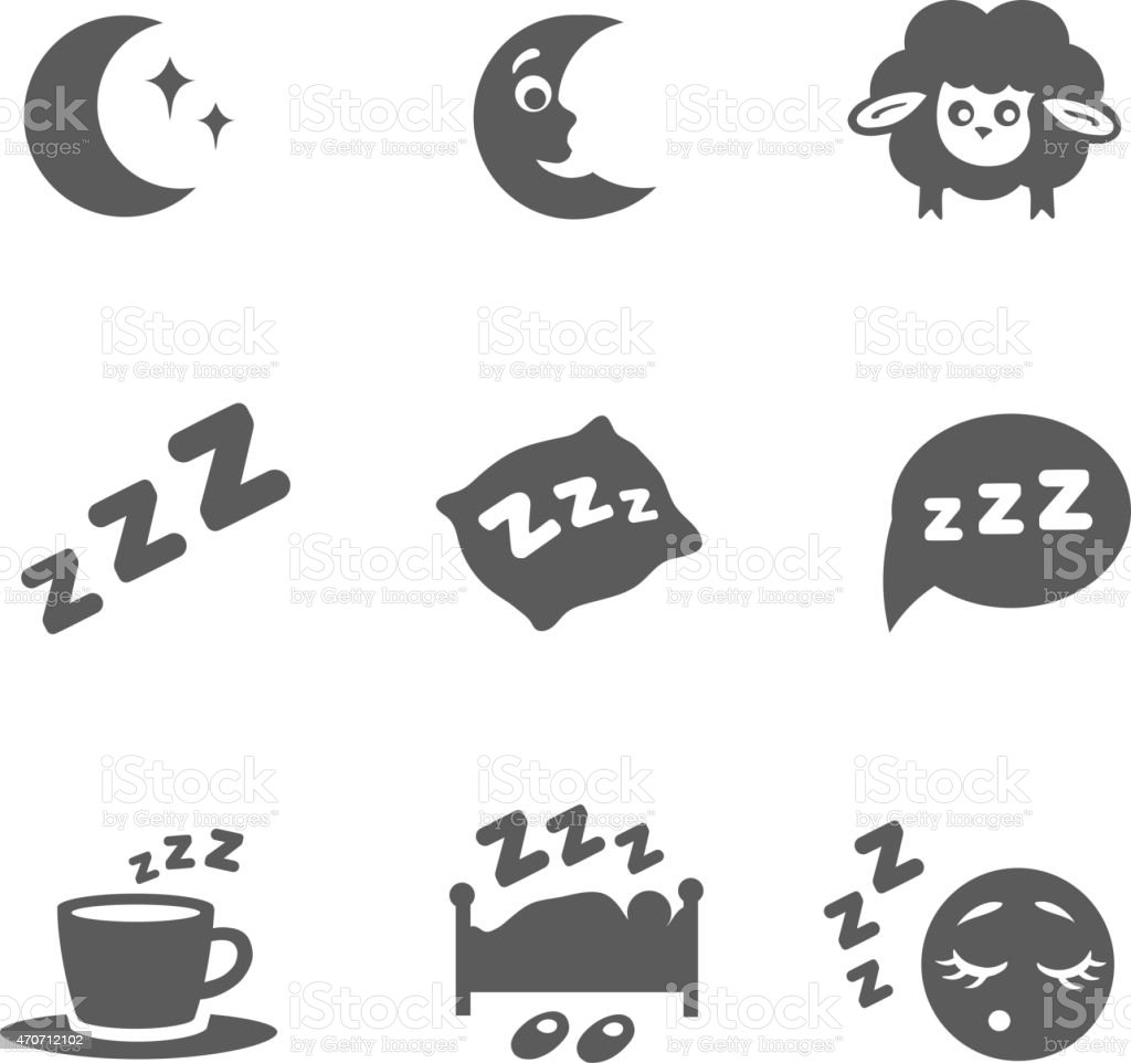 Vector isolated sleep icons set vector art illustration