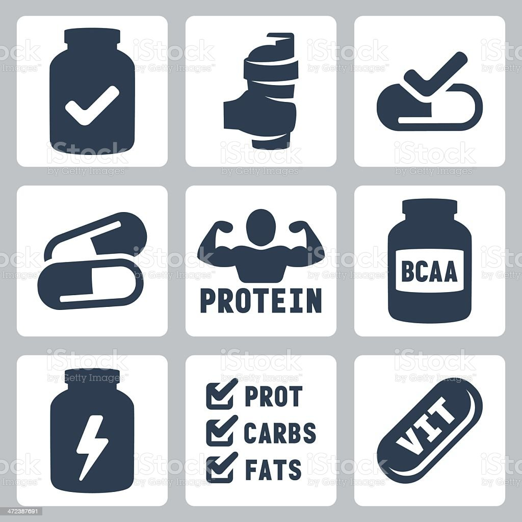 Vector isolated sport supplements icons set vector art illustration