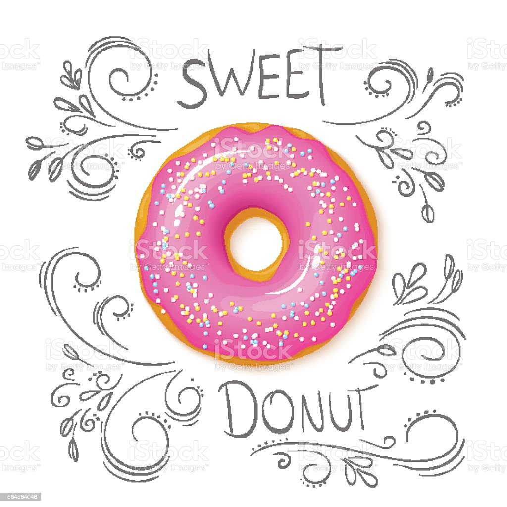 vector isolated sweet donut on top view vector art illustration