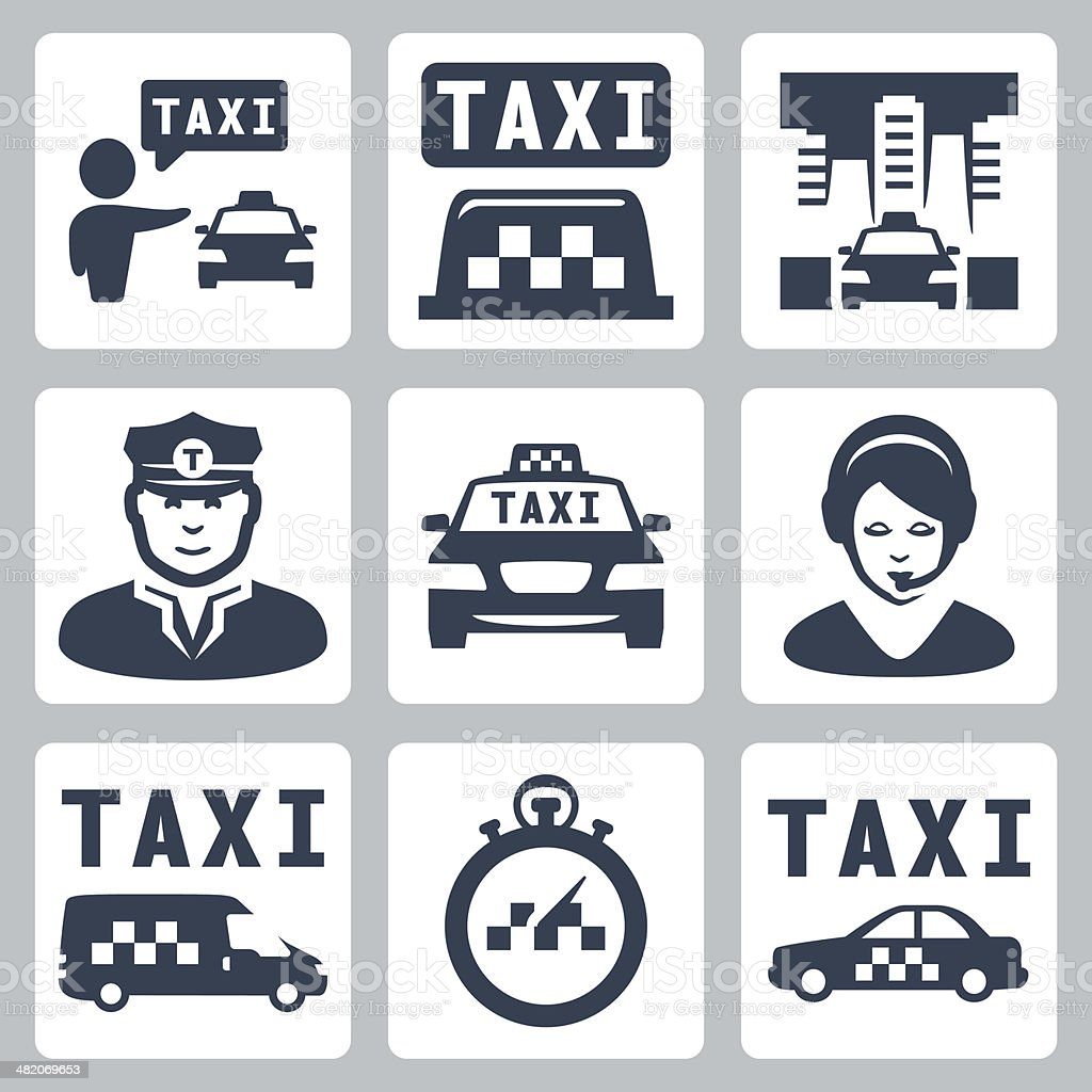 Vector isolated taxi icons set vector art illustration