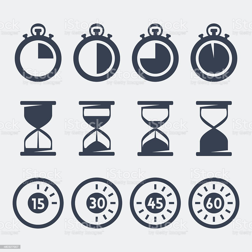 Vector isolated timers icons set vector art illustration
