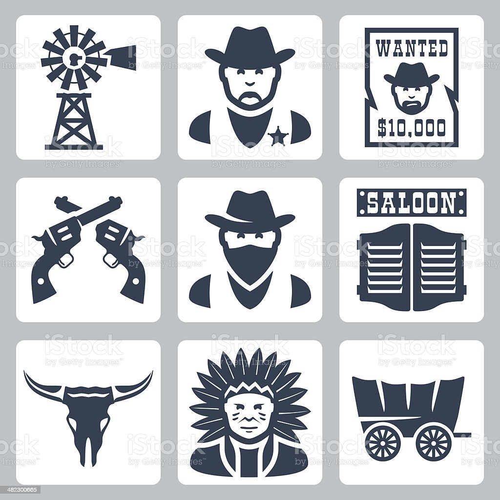 Vector isolated western icons set vector art illustration