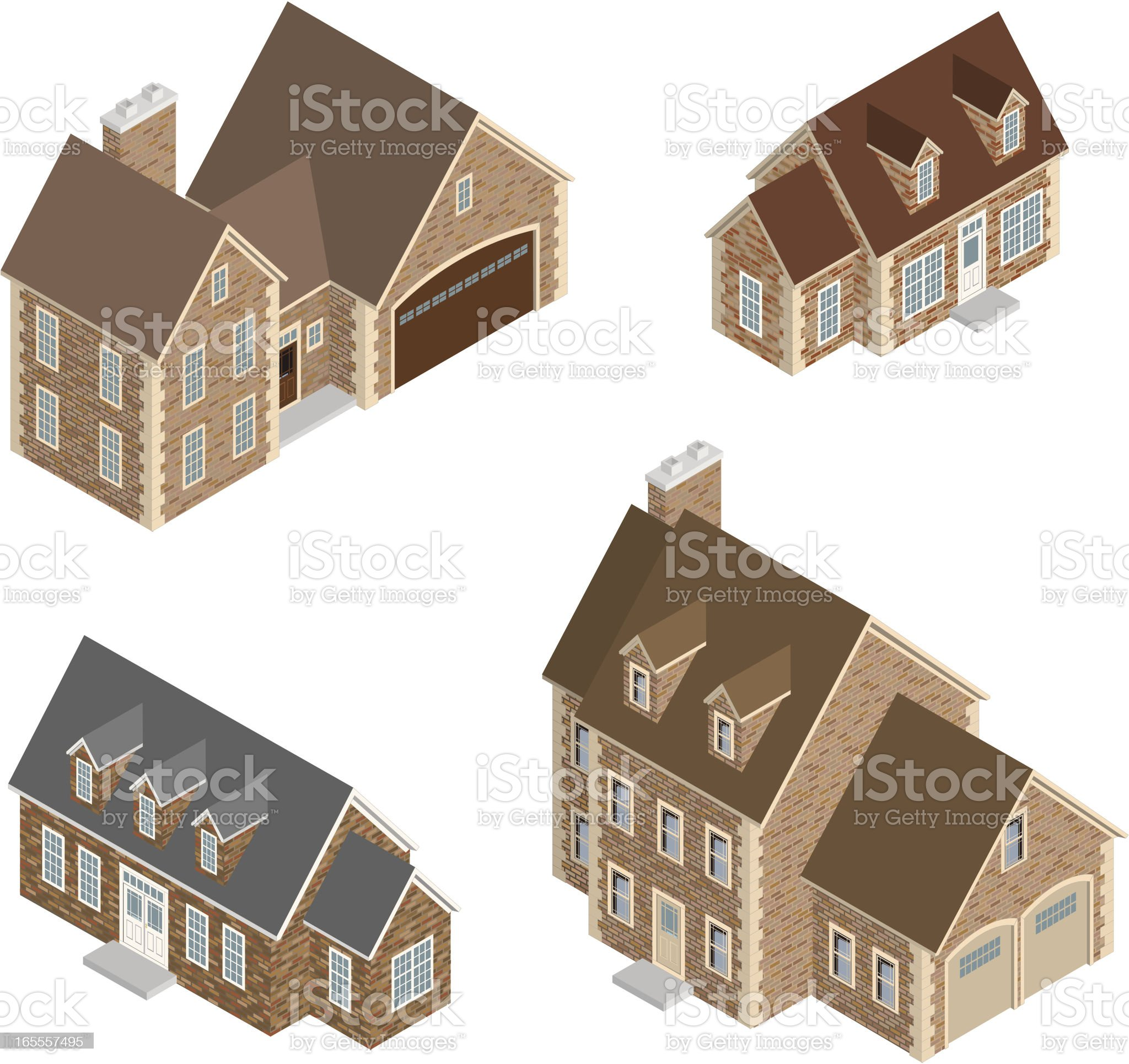Vector Isometric Brick Houses royalty-free stock vector art
