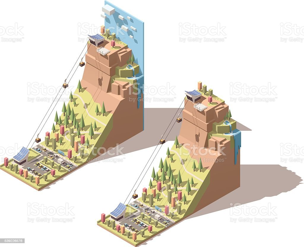 Vector isometric cableway to the hill infographic vector art illustration