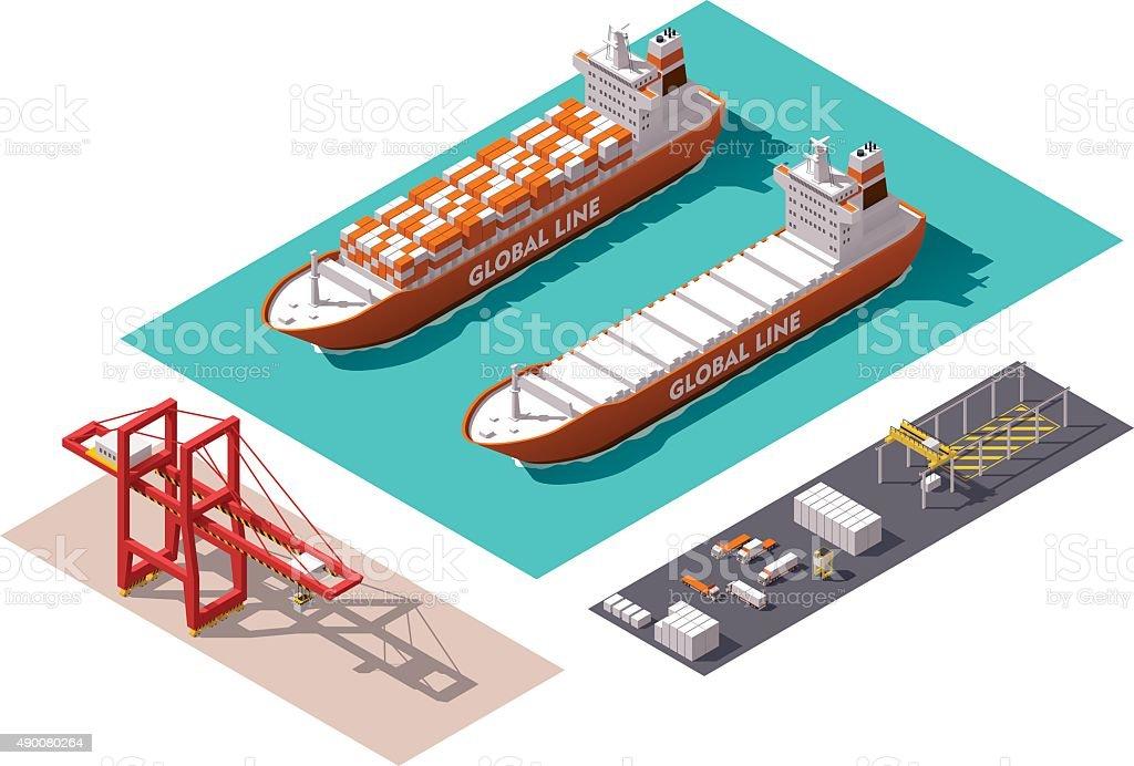 Vector isometric cargo port elements vector art illustration