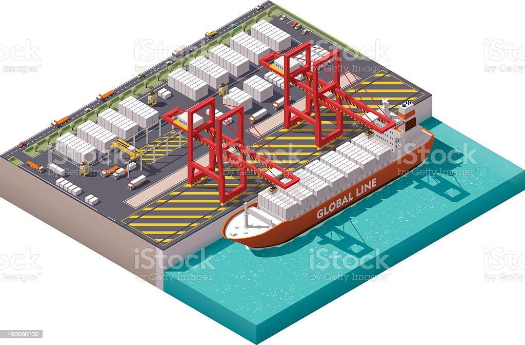 Vector isometric cargo port vector art illustration