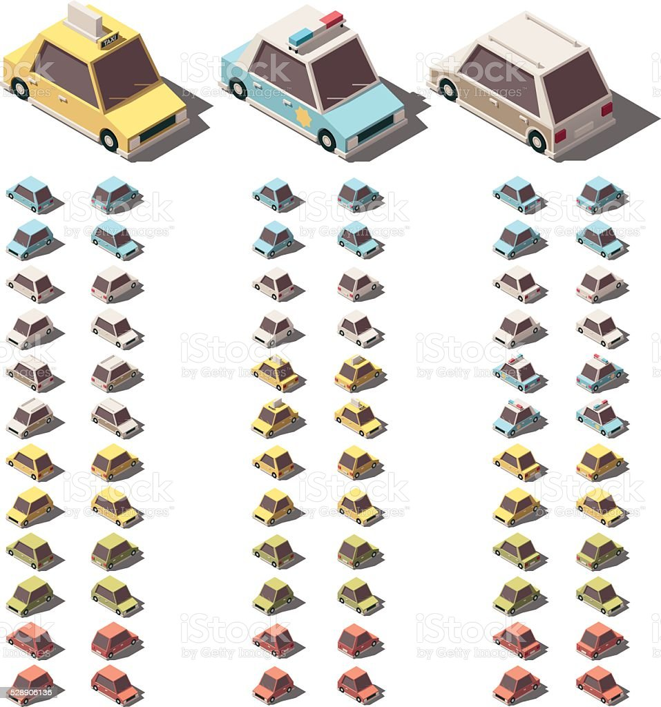 Vector isometric cars set vector art illustration