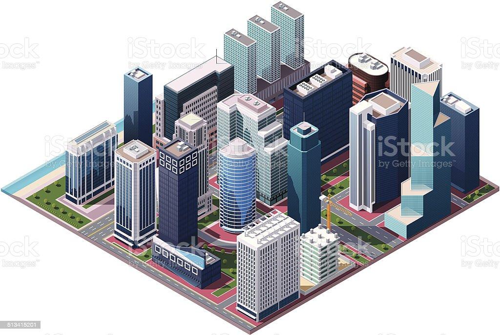 Vector isometric city center map vector art illustration