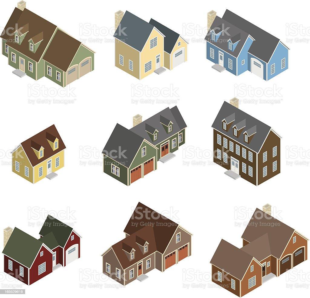 Vector Isometric Craftsman Houses royalty-free stock vector art