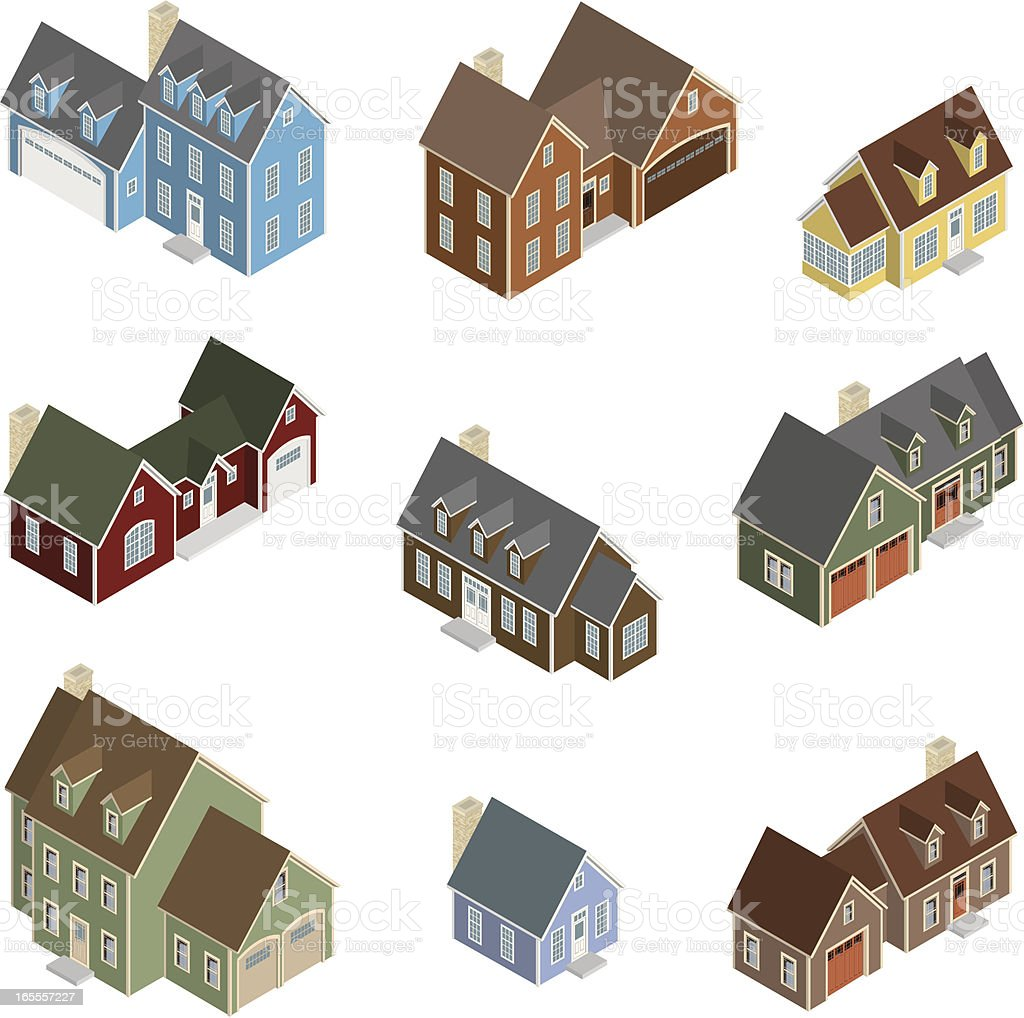 Vector Isometric Craftsman Style Houses royalty-free stock vector art