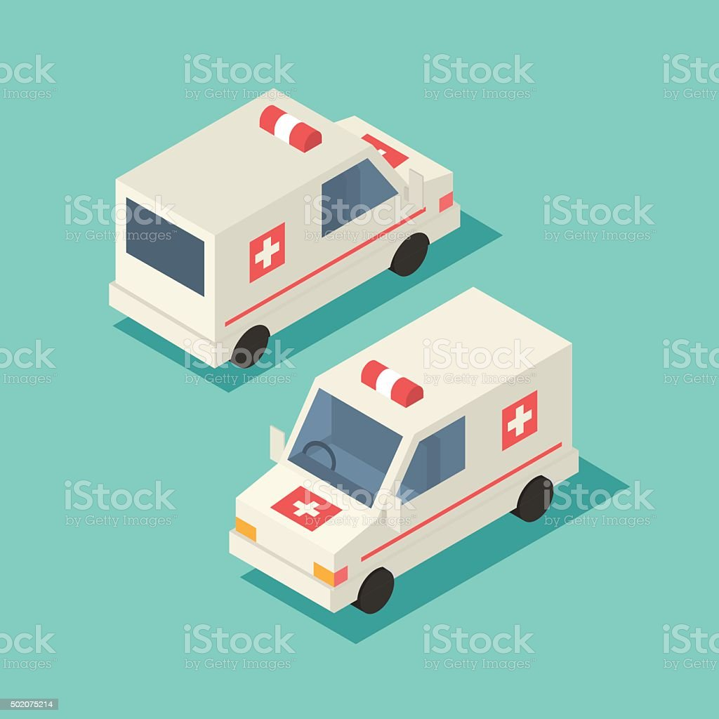 Vector isometric emergency car icon vector art illustration