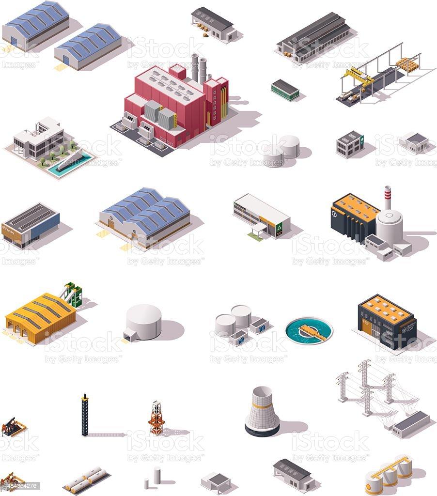 Vector isometric factory buildings set vector art illustration