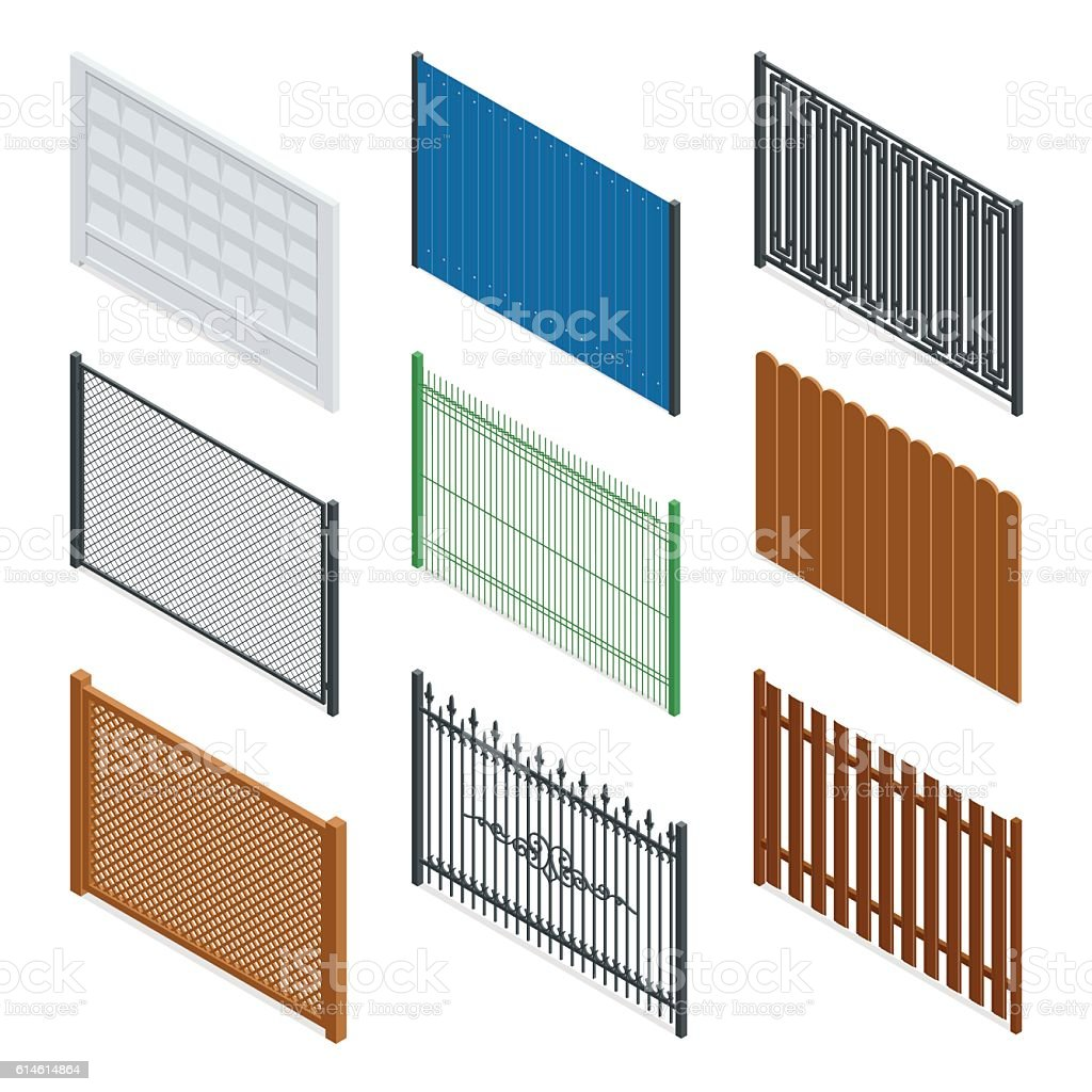 Vector Isometric fences and gates vector art illustration