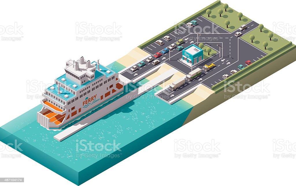 Vector isometric ferry port vector art illustration