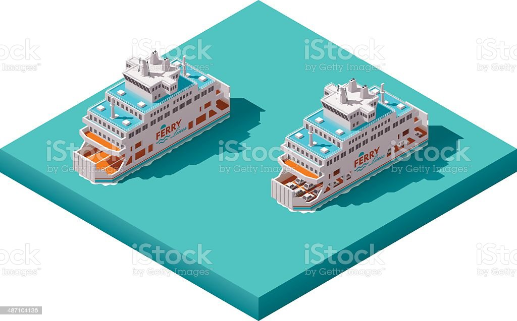 Vector isometric ferry vector art illustration