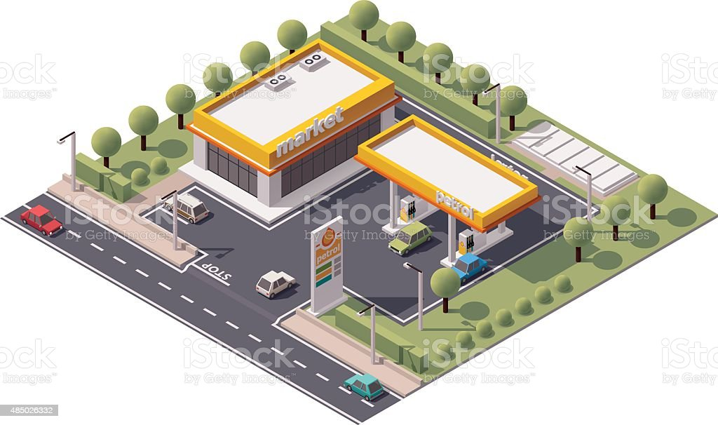 Vector isometric filling station vector art illustration