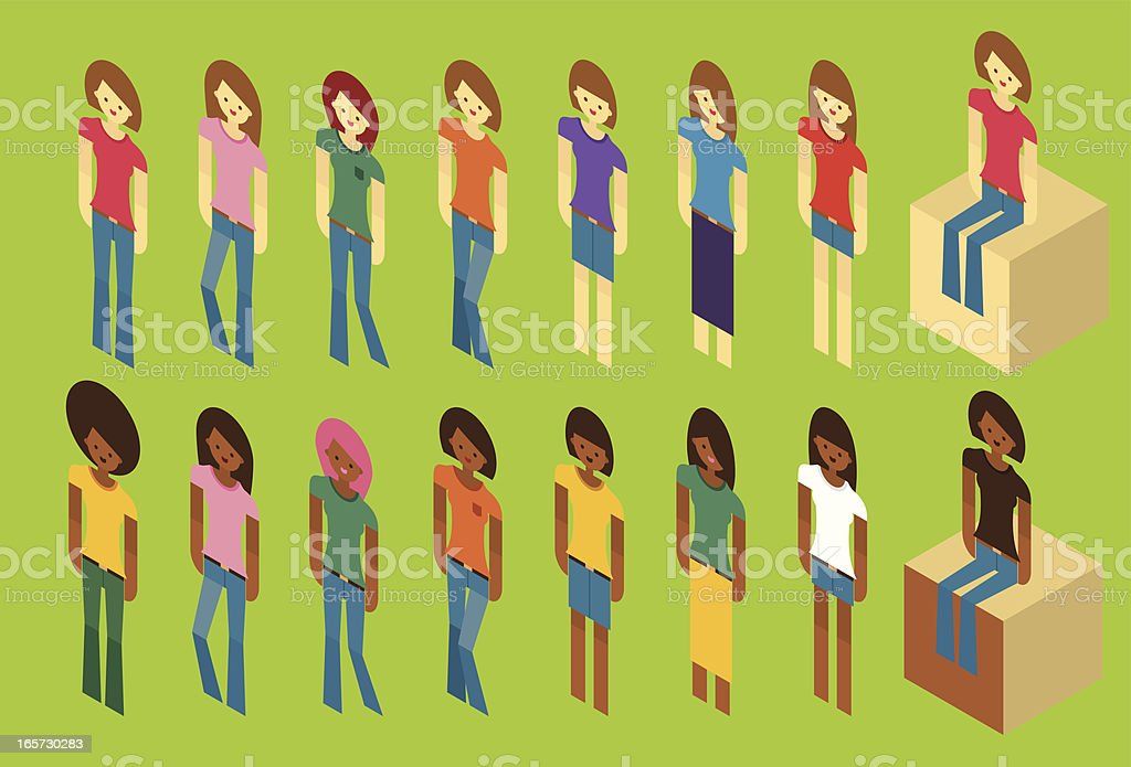 Vector isometric flat characters - female, casual vector art illustration
