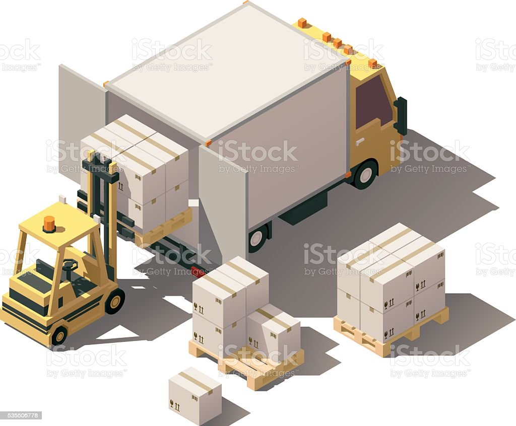Vector isometric forklift loading box truck with crates on pallets vector art illustration
