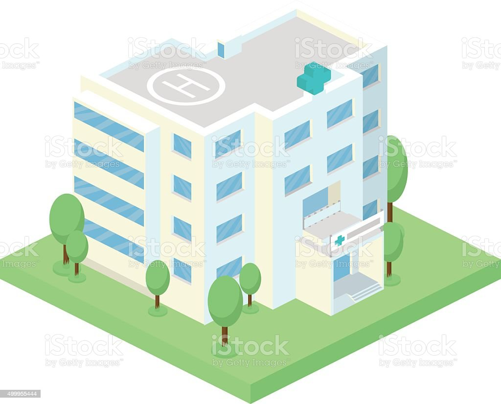 Vector isometric hospital building and landscape with trees vector art illustration