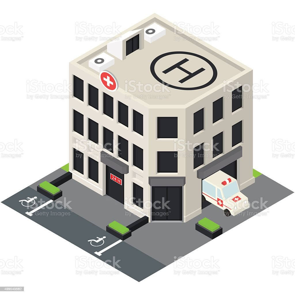 Vector isometric hospital building icon. vector art illustration