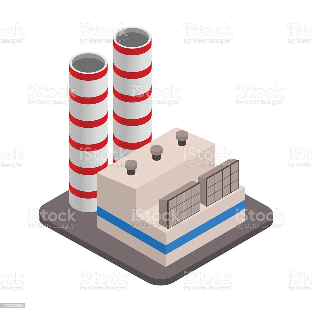 Vector isometric industrial factory buildings icon. Factory Landscape. vector art illustration