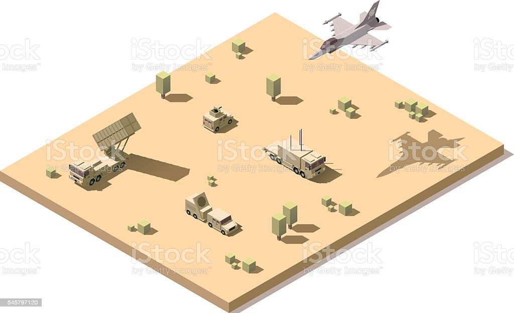 Vector isometric infographic element representing military surface-to-air missile system vector art illustration