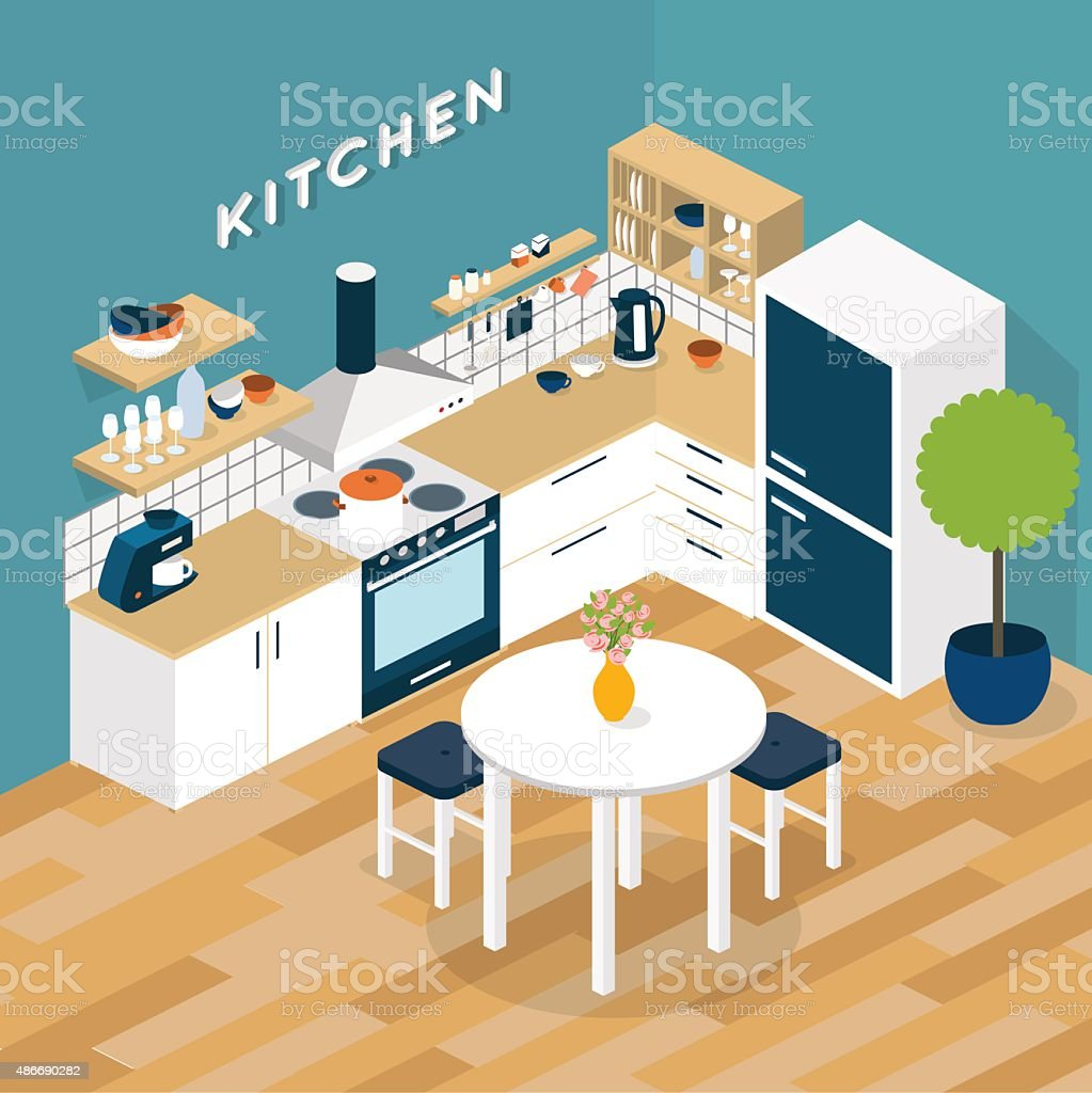 Vector isometric kitchen interior - 3D illustration vector art illustration