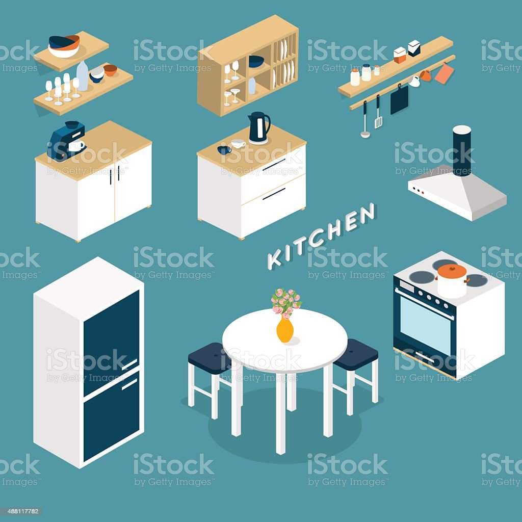Vector isometric kitchen interior objects - 3D illustration vector art illustration
