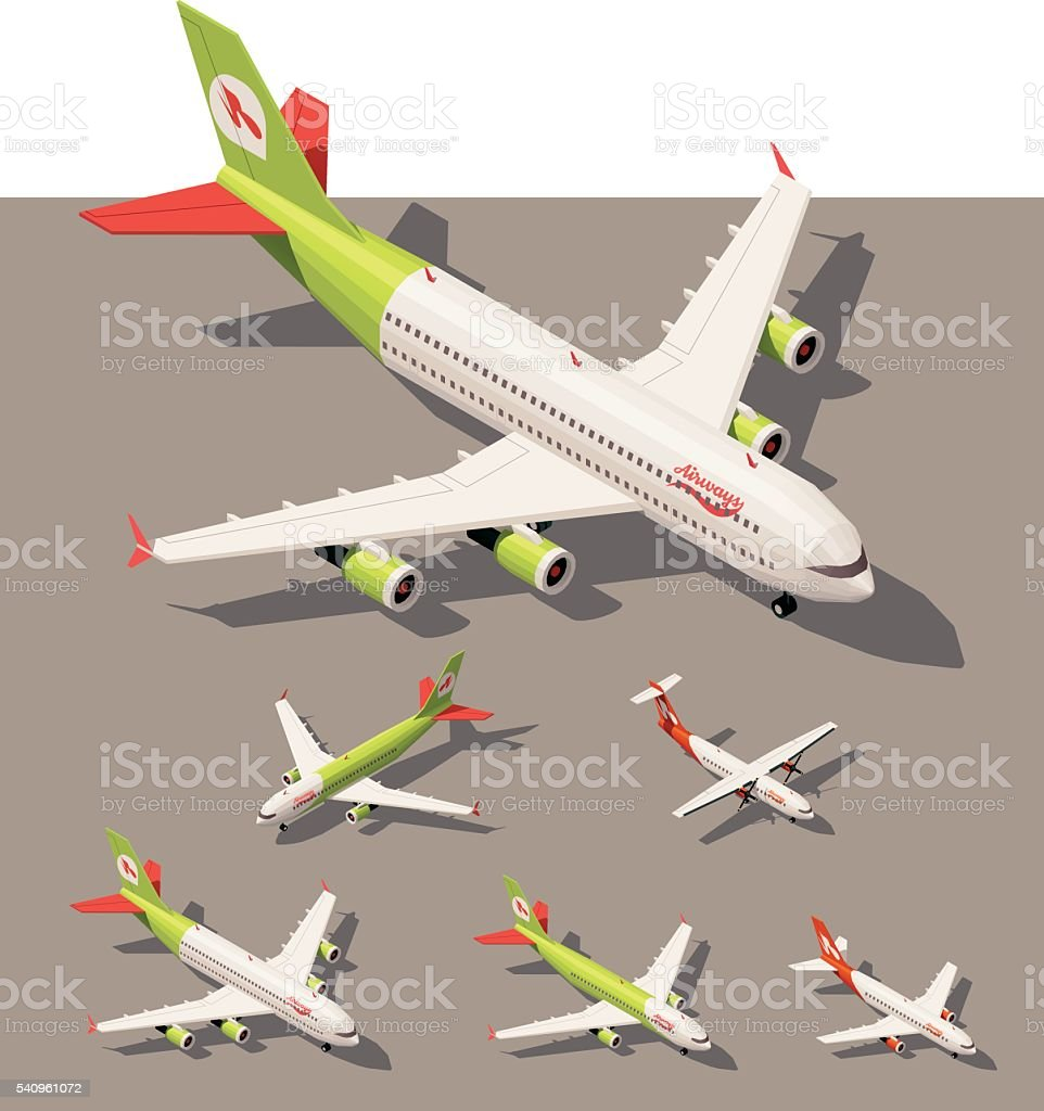 Vector isometric low poly airplanes set vector art illustration