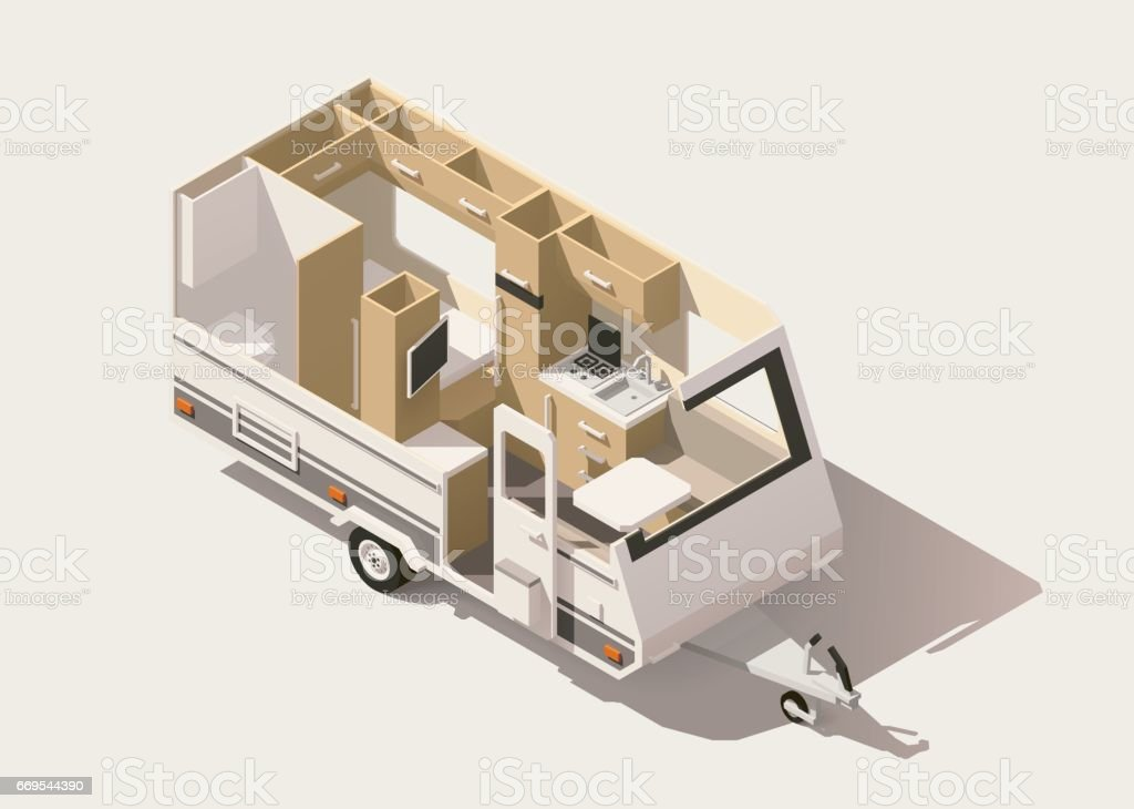 Vector isometric low poly camper trailer vector art illustration
