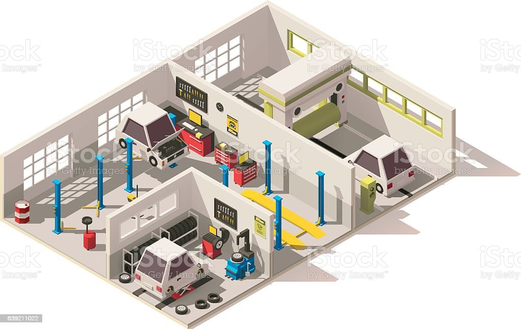 Vector isometric low poly car service center stock vector for Auto repair shop layout design