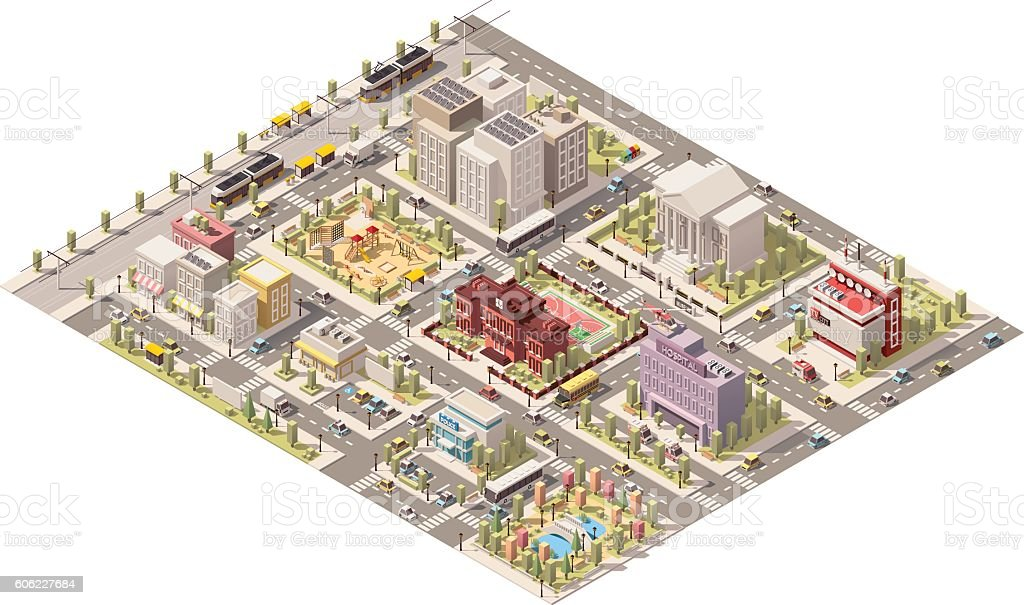 Vector isometric low poly city vector art illustration