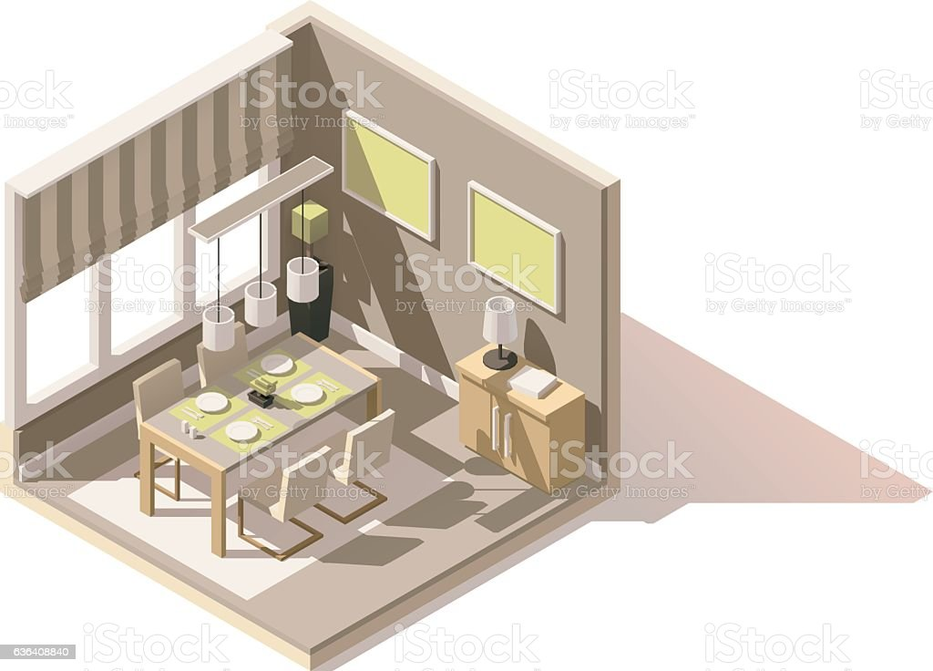 Vector isometric low poly dining room icon vector art illustration