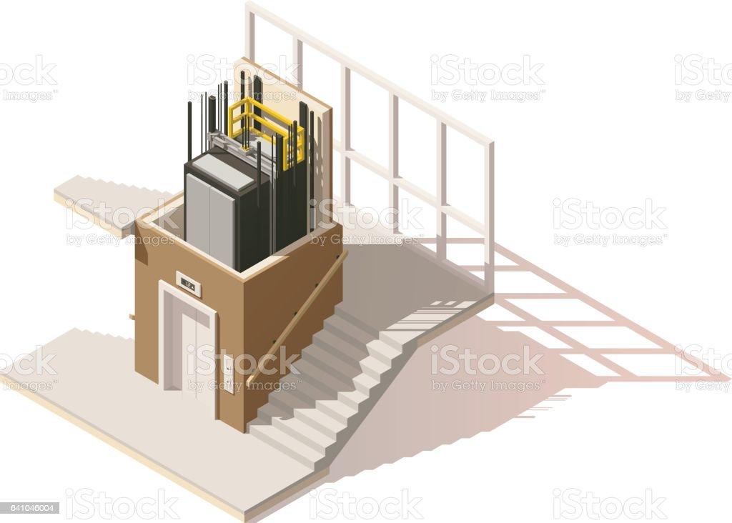 Vector isometric low poly elevator cutaway icon vector art illustration