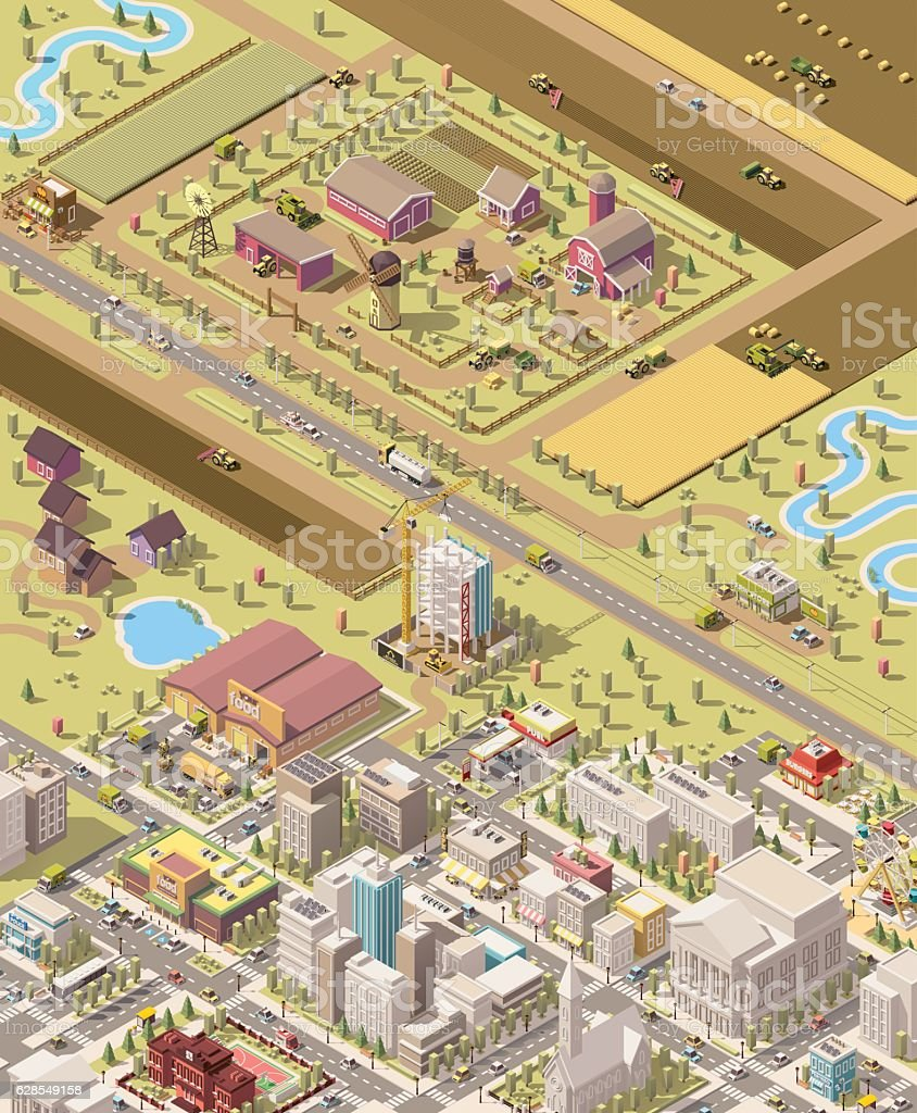 Vector isometric low poly farm and city vector art illustration