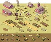 Vector isometric low poly farm elements