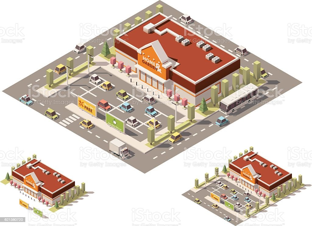 Built Structure  Construction Frame  Construction Industry  Map  Market. Vector Isometric Low Poly Homeimprovement Store stock vector art