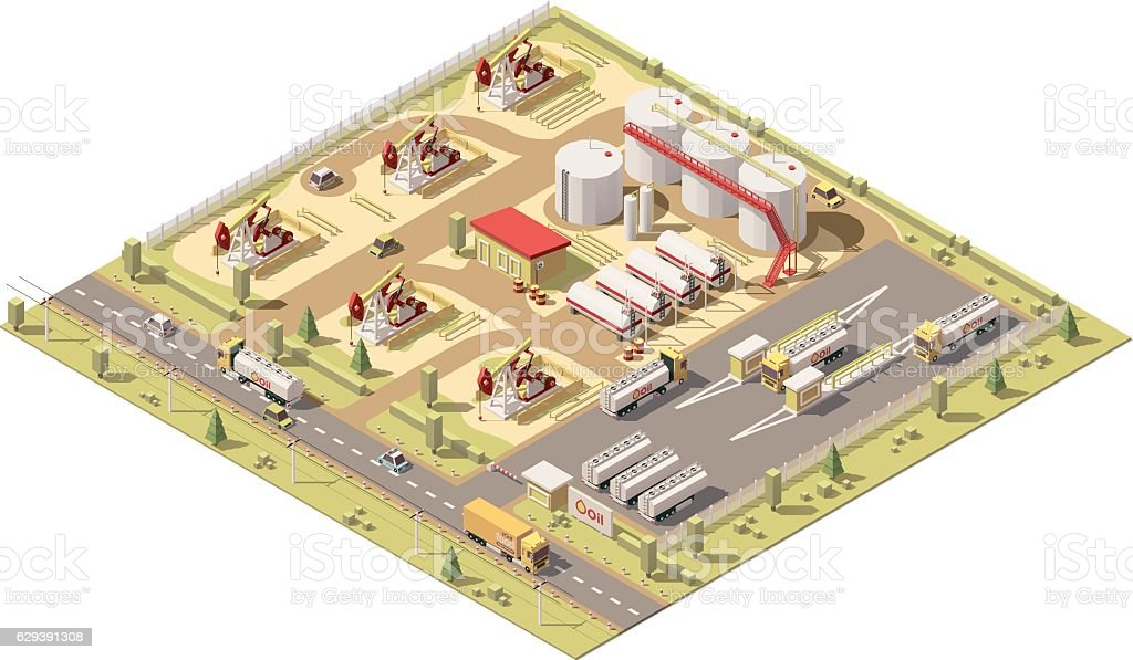 Vector isometric low poly oil field vector art illustration
