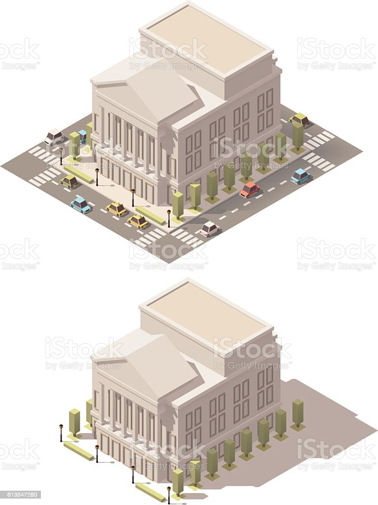 Vector isometric low poly Opera house vector art illustration