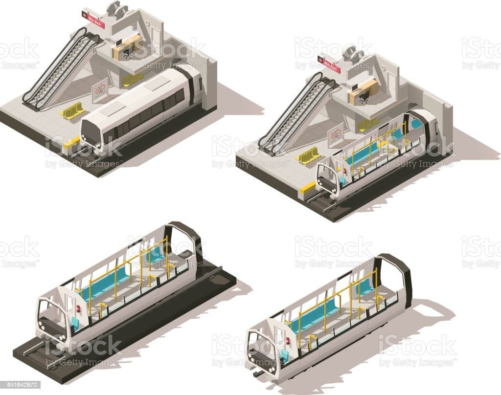 Vector isometric low poly subway station cutaway vector art illustration