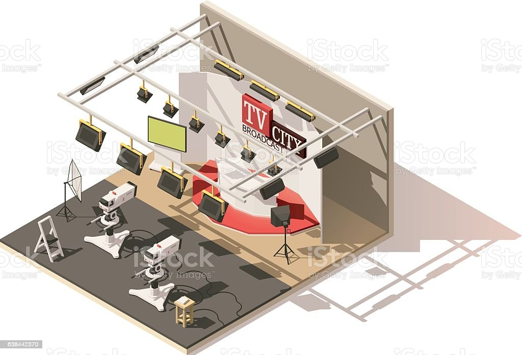 Vector isometric low poly television studio icon vector art illustration