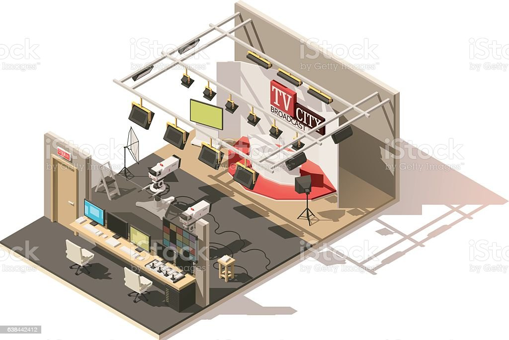 Vector isometric low poly television studio vector art illustration