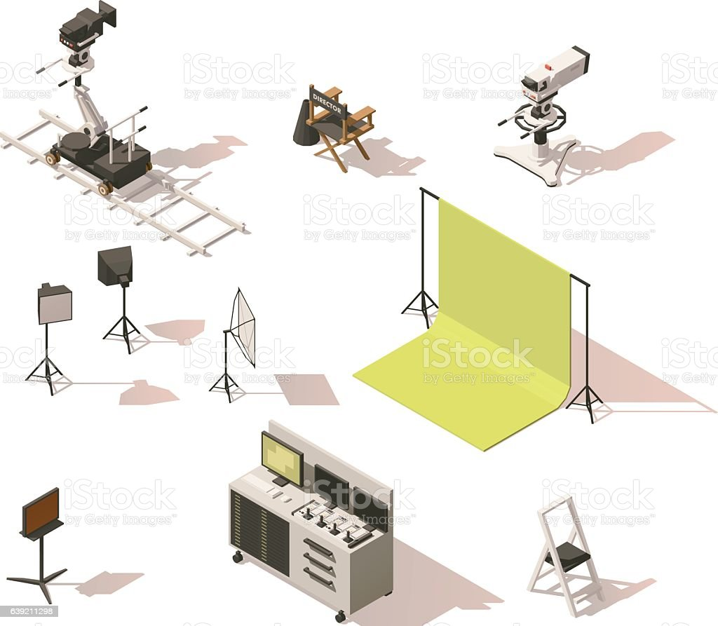 Vector isometric low poly video equipment set vector art illustration